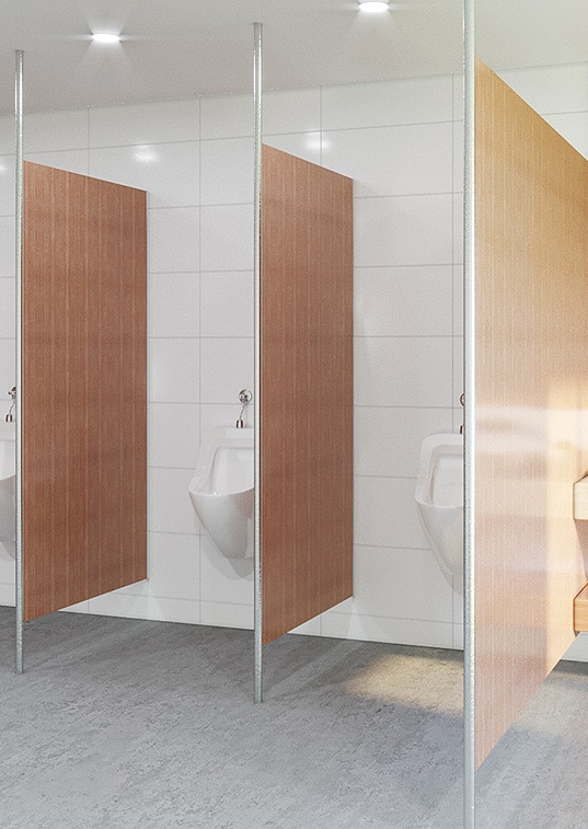 Urinal Privacy Screen Post Supported TPI Commercial Joinery - Bathroom privacy partitions