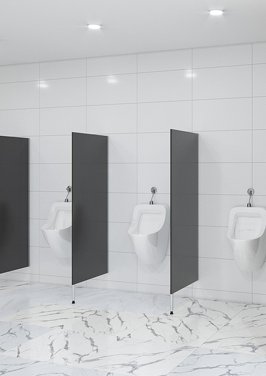 Urinal Screens and Privacy Partitions - pedestal mounted