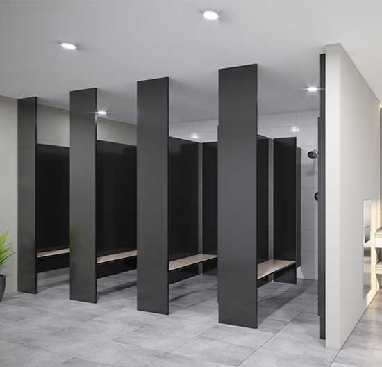 13mm Compact Laminate Toilet Partitions Industries Wet
